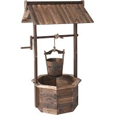 amazon com wood burnt finish wishing well planters patio