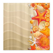 Shower Curtains Orange Makanahele Pretty Sea Shell Shower Curtain Orange Right