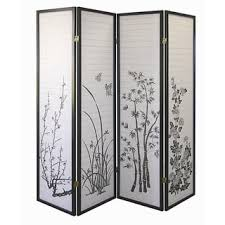 4 panel black bamboo room divider free shipping today