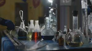 his and flasks chemical laboratory up of the flasks with the chemicals