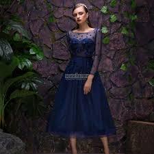 robe de soir e mari e robe de soirée courte élégante en tulle bleu marine brodée de