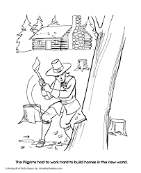 thanksgiving coloring pages pilgrim settlers printables