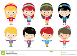 vector cute cartoon boys and girls together stock vector image
