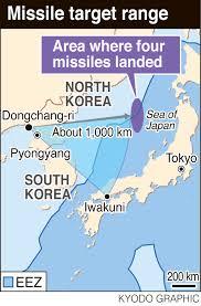 Sea Of Japan Map North Korean Missile Drill Simulated Targeting Iwakuni Base