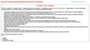 Demi Chef De Partie Resume Sample Demi Chef De Partie Work Experience Letters
