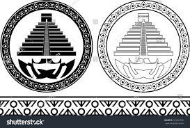 Mexican Flag Stencil Stencils Mayan Pyramids Vector Illustration Stock Vector 103463705