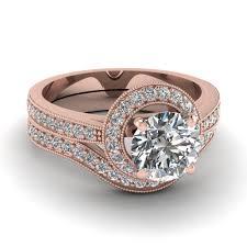 vintage wedding ring sets gold white diamond engagement wedding ring in pave set