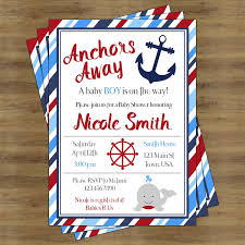 anchor baby shower nautical baby shower invitation boy printable anchors away baby