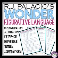 wonder by r j palacio figurative language by presto plans tpt