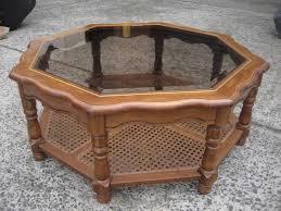 Vintage Glass Top Coffee Table Vintage Octagon Glass Top Coffee Table 2 Tier Timber In