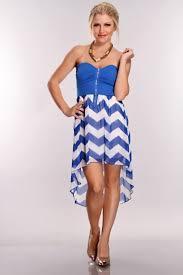 royal blue white zig zag high low hem dress clubwear