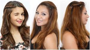 Medium Hairstyle For Girls by Cute U0026 Easy Side Twist Hairstyle Alia Bhatt Hair Tutorial Diy