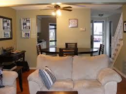 square white ceramic tile floor dining room living room combo blue