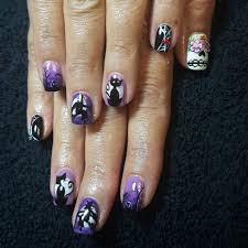cnd shellac nail art by gossamer nail studio halloween cat