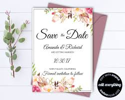 floral save the date wedding template floral save the date