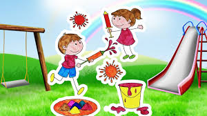 coloring children playing holi happy holi kids coloring pages