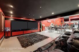 home design modern luxury garage man cave with beige shag rugs on