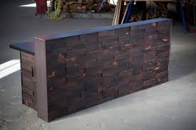 Reclaimed Wood Reception Desk Stacked End Cut Reclaimed Reception Desk