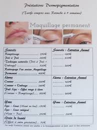 sourcil maquillage permanent prix massages relaxants bien être institut de beauté maquillage semi