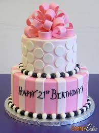 pink bow white dots 21st birthday cake cmny cakes
