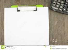 blank paper to write on write blank paper clip on green clipboard with calculator stock