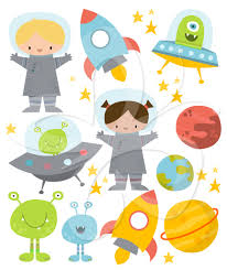 space clipart set aliens planets and astronauts creative