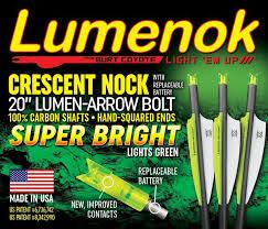 20 crossbow bolts with lighted nocks 100 carbon lumen arrow bolts 20 crescent 3 pack lumenok