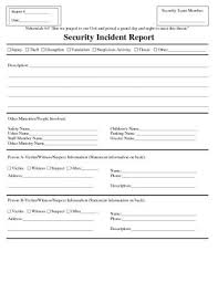 Computer Security Incident Report Template by Incident Report Exle Blank Or Incident Report