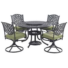 Aluminum Patio Dining Set - home styles athens charcoal 7 piece all weather cast aluminum