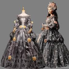Ball Gown Halloween Costumes Grade Vintage Gray Floral Marie Antoinette Renaissance Ball
