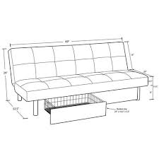 Average Sofa Dimensions by Sola Storage Futon Black Walmart Com