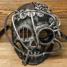 steampunk skull with goggle masquerade mask black silver