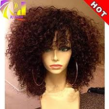curl in front of hair pic amazon com rj hair curly lace front wig with bangs brazilian