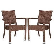 Patio Stacking Chairs Kelda 2pk All Weather Wicker Patio Stacking Dining Chairs Brown