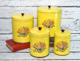 vintage kitchen canisters yellow kitchen canisters sets vintage yellow 3 canister set