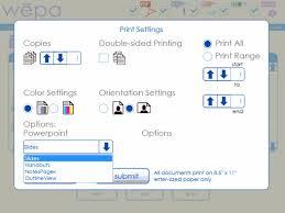 usb print settings wepa support