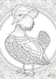 mandarin duck zentagle coloring page free printable coloring pages