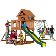 Backyard Discovery Winchester Playhouse Backyard Discovery Springboro All Cedar Swing Set U0026 Reviews Wayfair