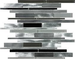 carbon blend brushed aluminum glass random strip mosaic tile www
