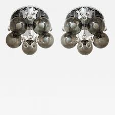 Sculptured Chandelier Lightolier Pair Of Smoke And Clear Glass U0027bubbles U0027 Chrome Flush