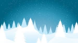 merry nature with trees and falling snow loop stock
