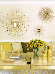Contemporary Gold Living Room With Sunburst Mirrors Neutral And