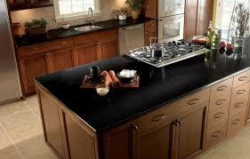 black countertop with black sink bathroom natural brown wooden kitchen island with black ikea quartz