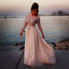 2017 luxury style long illusion sleeve plus size prom dresses