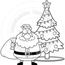 cartoon santa claus christmas tree black and white line art by