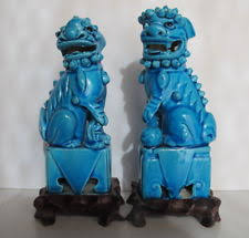 blue foo dogs foo dog blue antique statues ebay
