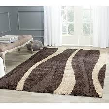safavieh willow shag collection sg451 2813 dark brown and beige