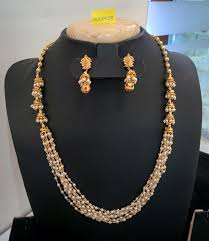 short chain pearl necklace images Multi layer pearl necklace with jhumka south india jewels jpg