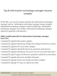 information technology resume examples top8informationtechnologymanagerresumesamples 150402024631 conversion gate01 thumbnail 4 jpg cb 1427960838