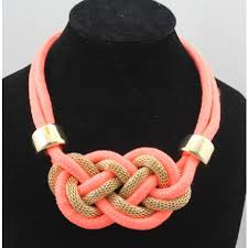 big fashion statement necklace images Fashion braided coral orange big statement bib necklace wholesale jpg